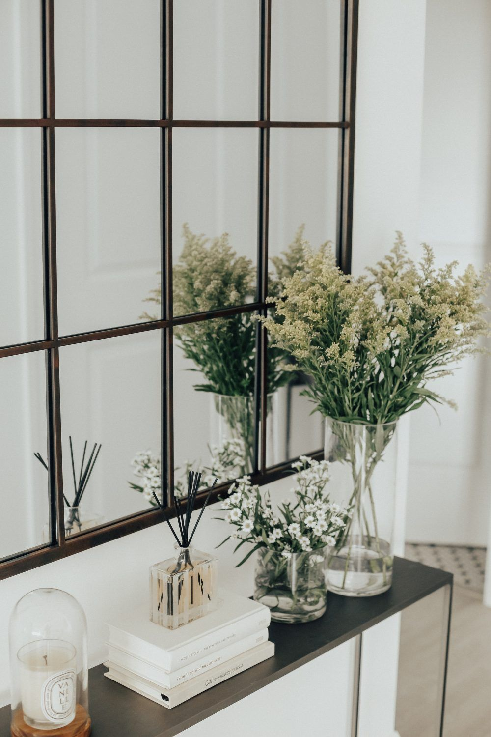 Condo entry way cb2 mini mill console table arch mirror condo entry way cb2 mini mill console table arch mirror geotapseo Image collections
