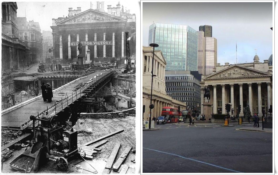 """Londra distrutta dai bombardamenti tedeschi. edificio della borsa reale con uno striscione con la scritta """"Dig for victory""""  1940"""
