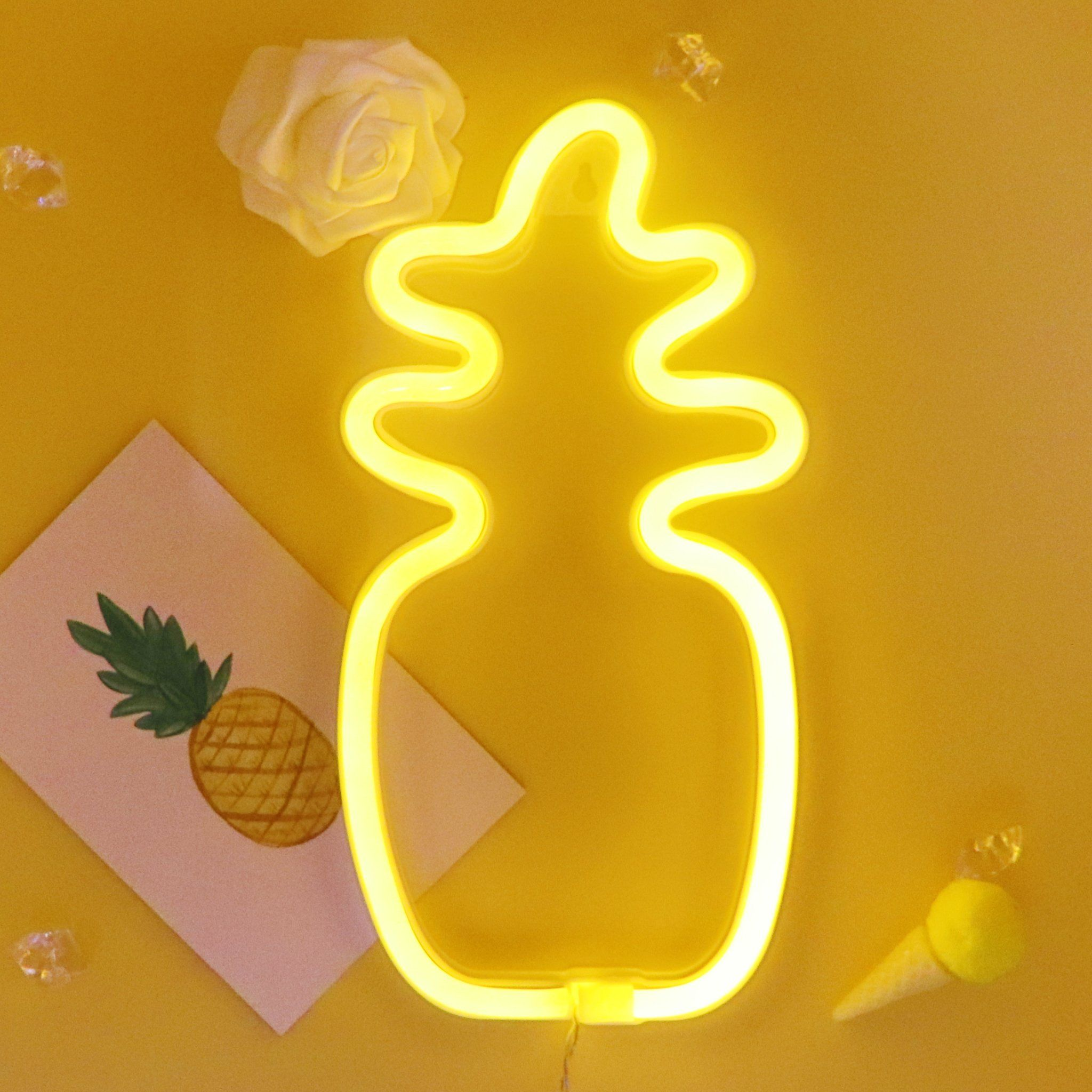 TONGER Yellow Pineapple Wall LED Neon Light Sign