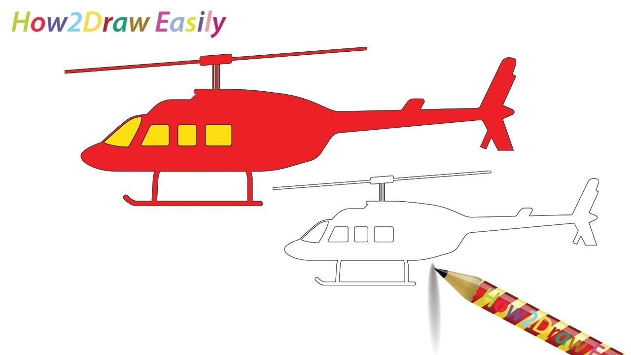Helicopter Drawing & Coloring. ---- #drawings #drawinglessons ...