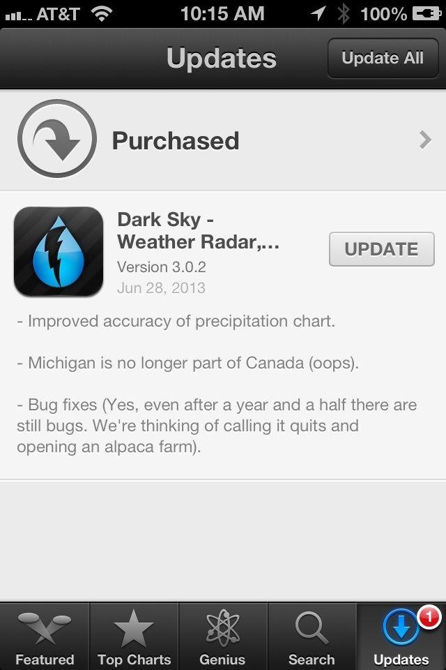 Weather radar app improvement. It's the little things.