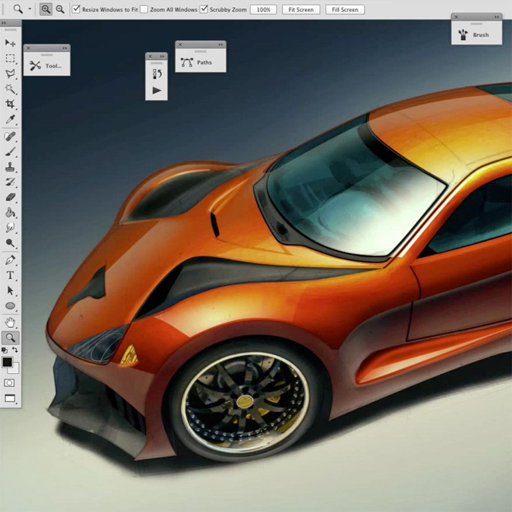 Shiny car rendering in Photoshop: layering strategy by Scott ...