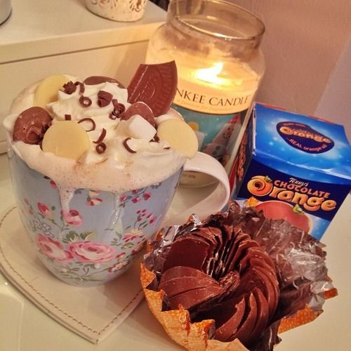 Perfect! Candles, hot chocolate with cream and a terry's chocolate orange