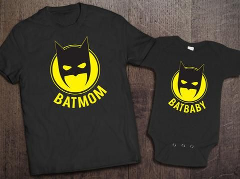 Batmom and Batbaby Matching Set in black. Cute matching set perfect for that nerdy mom and baby duo. Matching mom and baby set. Batman inspired matching mommy and baby set. JUSTICE.