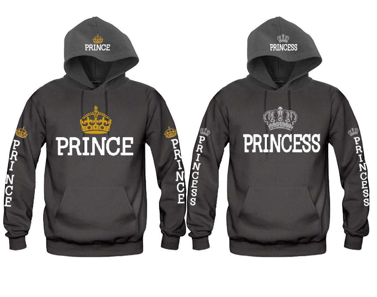 Prince and Princess Fully Loaded Unisex Couple Matching Hoodies ... bdc1d682fa