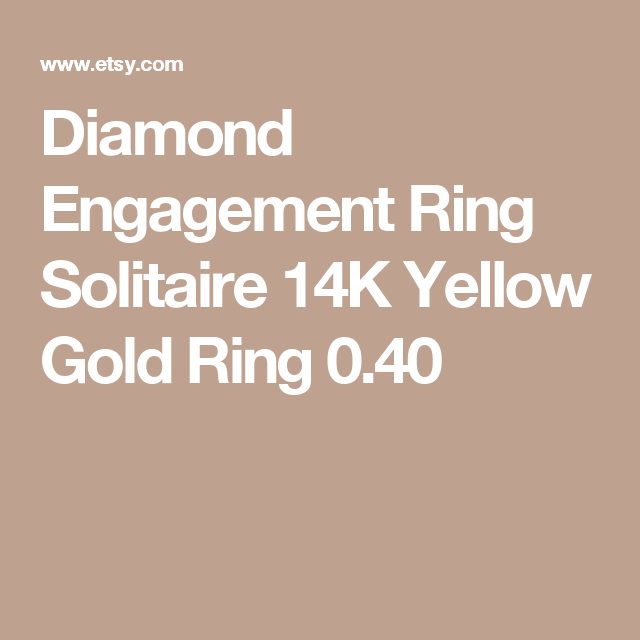 Diamond Engagement Ring Solitaire 14K Yellow Gold Ring 0.40