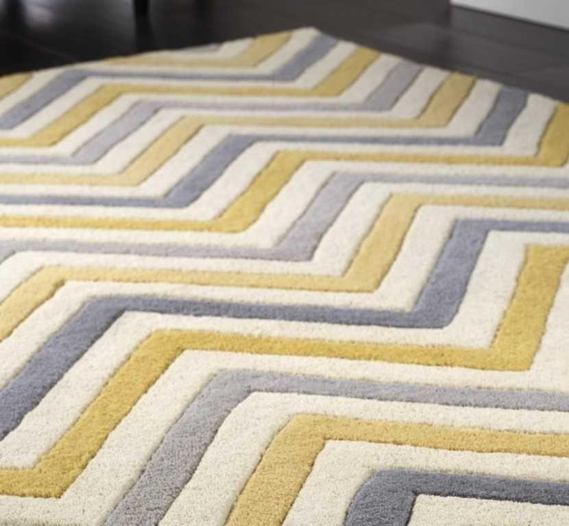 Cabone Yellow Grey Wool Rugs Modern