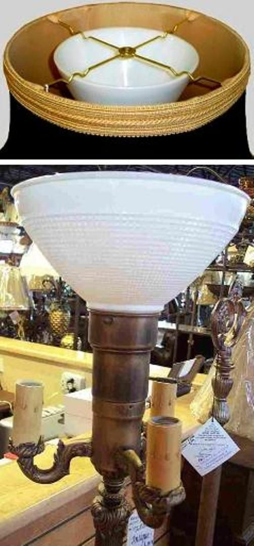 White Bowl Glass Shade Torchiere 6 10 W Floor Lamp Shades Lamp