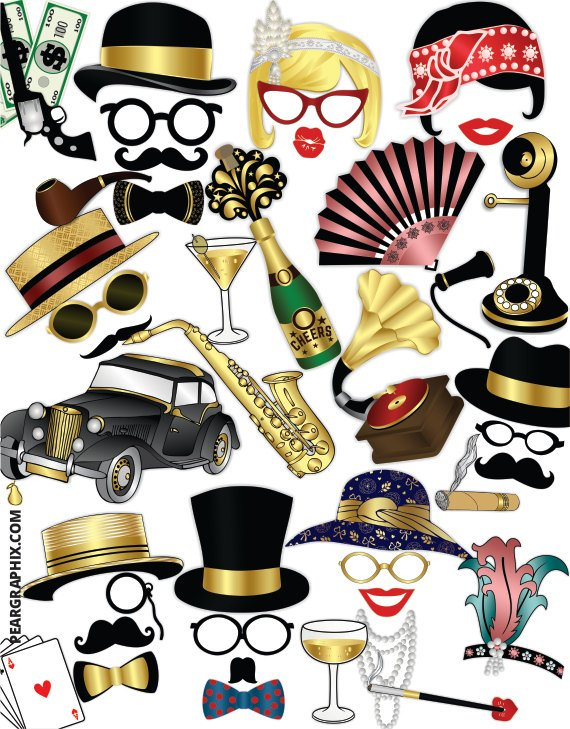 Great Gatsby Photo Booth Props Roaring 20s Party Props 1920s