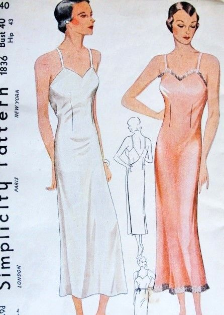 7185f41e9c 1930s Bias Cut Wrap Around Slip Pattern Simplicity 1836 Shadow Proof Slip  Wear As Slip Dress Bust 40 Vintage Sewing Pattern FACTORY FOLDED