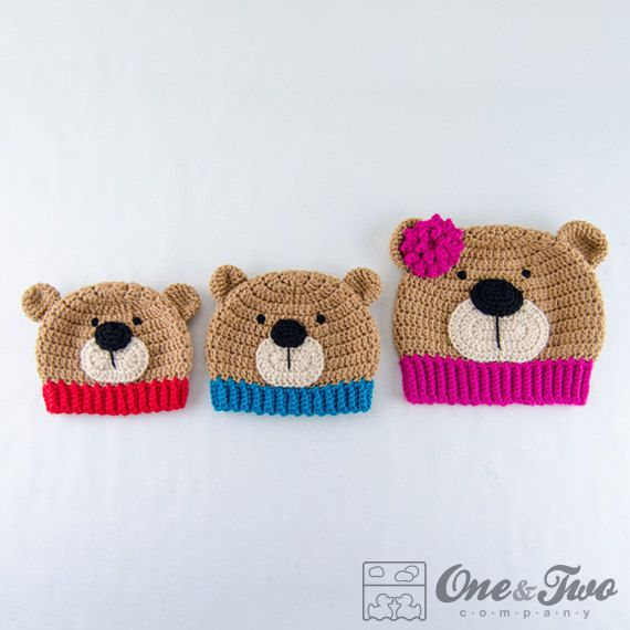 Teddy Bear Hat - PDF Crochet Pattern - 7 sizes ( Newborn to Adult ...