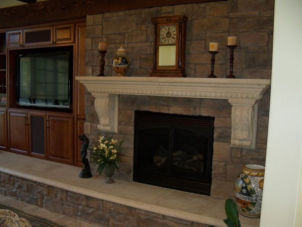 Mantel on brick fireplace For the Home Pinterest Brick