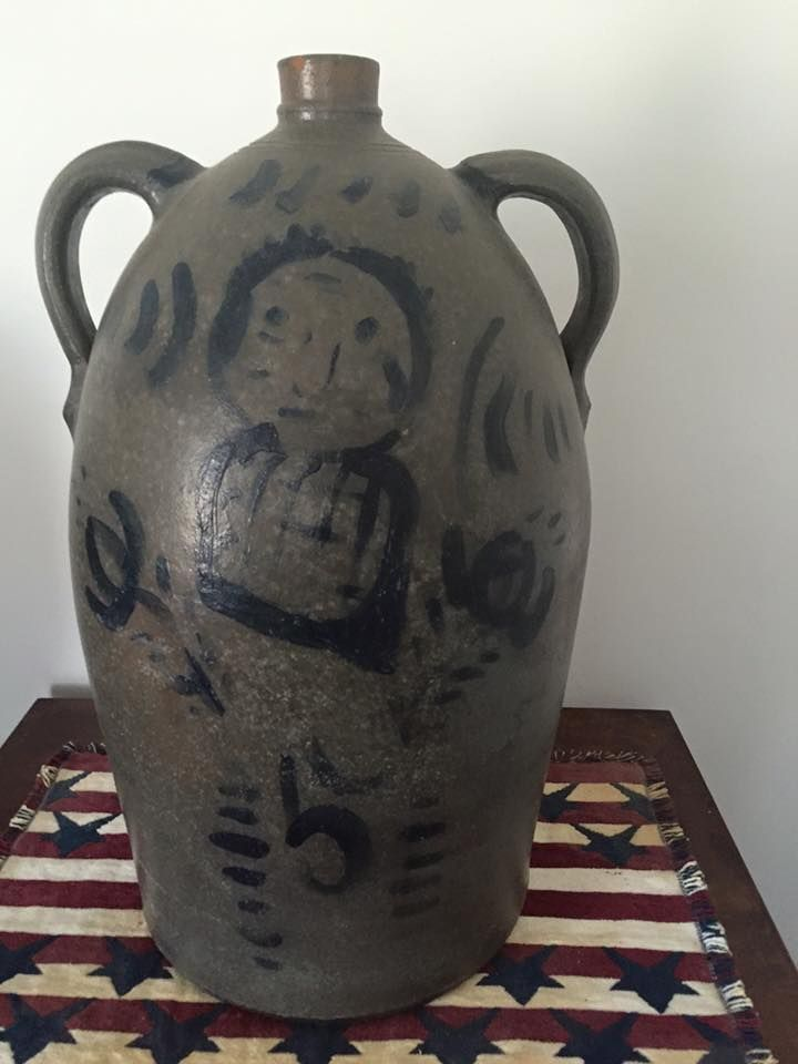 New Geneva or Greensboro, PA, 5 gallon, double handled, stoneware jug. Carol Logsdon photo.