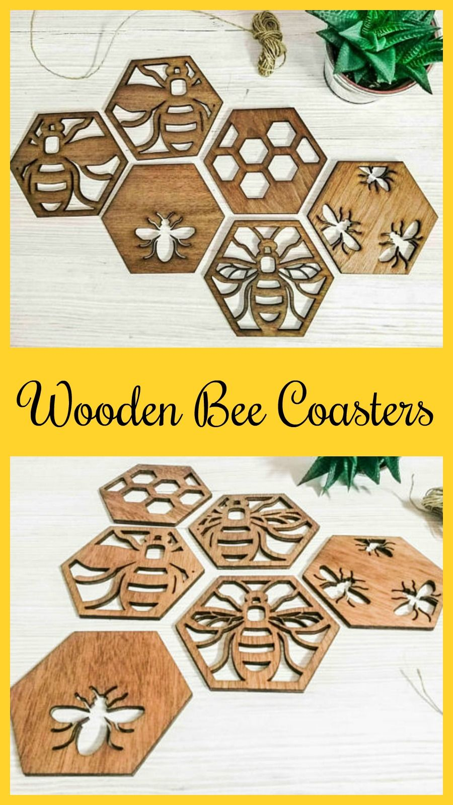 Bee coasters, lazer cut wood, large coasters or wall decor for the ...
