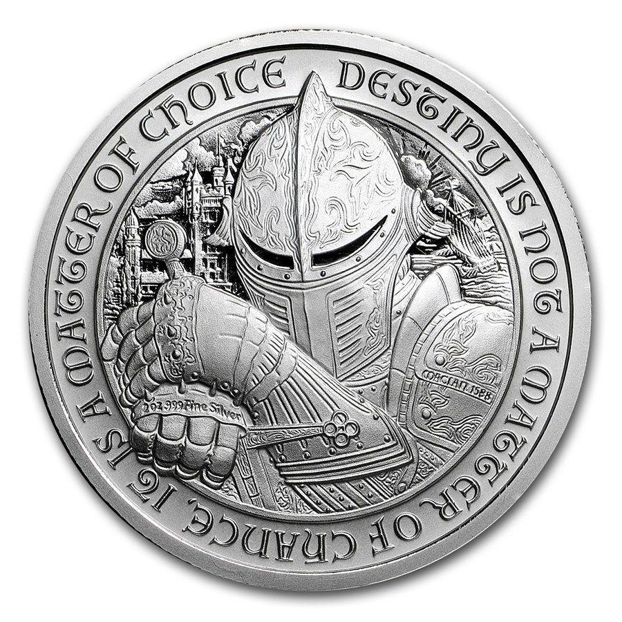 The Raven 2 oz .999 Silver BU Round USA Made Encapsulated Coin Destiny Knight