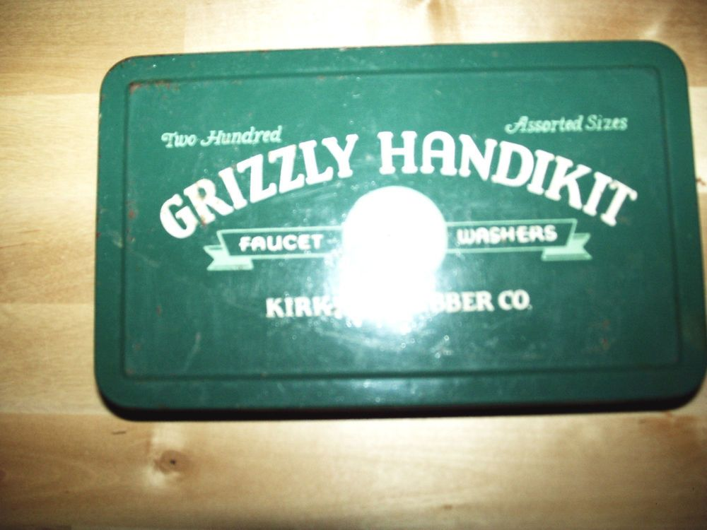 Vintage Grizzly Handikit Faucet Washer Metal Tin Kirkhill Rubber ...