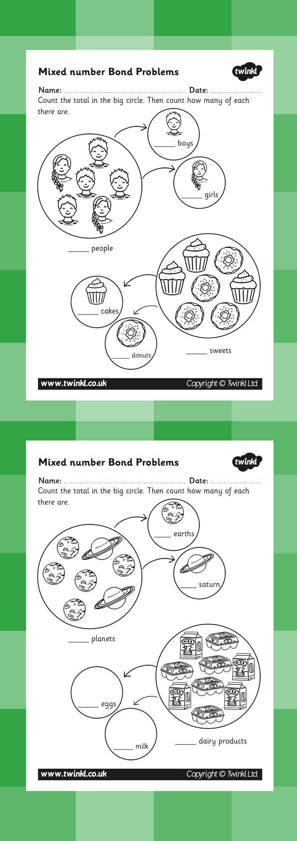 Mixed Number Bond Problems Worksheet   P R E SchooooL   Pinterest ...