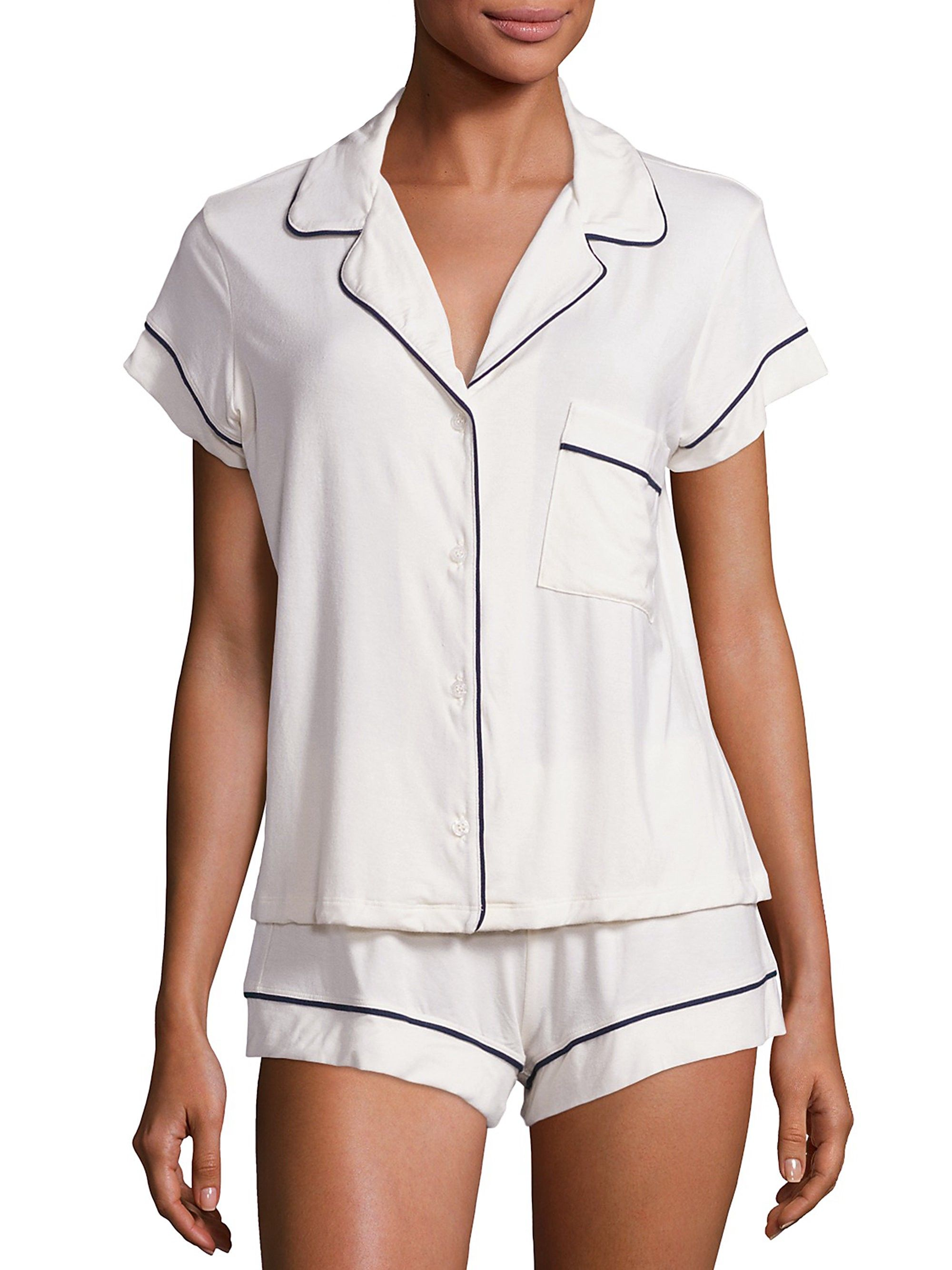 9806012145822 Lingerie & Sleepwear on Sale at Neiman Marcus. Eberjey Gisele Short-Sleeve  Pajama Top And Shorts - Water Blue Small