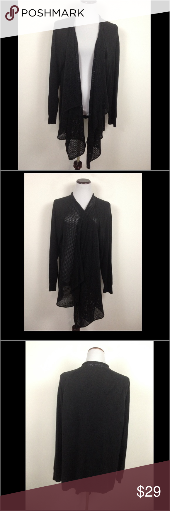 Black wrap cardigan sweater 2x Great wrap in near perfect condition with no issues. It is lightweight and has a mesh like front with knit arms and back. No pockets or closures. Nice and simple. Size 2X. Smoke free home! a.n.a Sweaters Cardigans