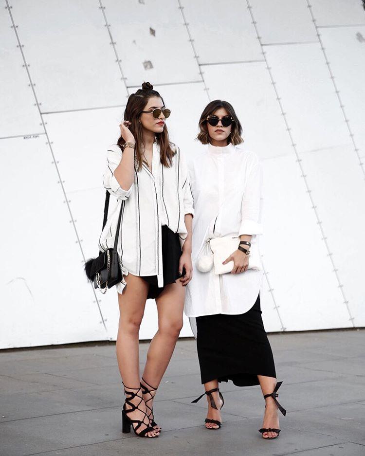 "Bec + Marissa Karagiorgos on Instagram: ""Feeling anything but basic in @bassike ~ : @katie.fergus #love #fashion #fashionweek #style #streetstyle #vamff #vamff16 #inspiration #inspo #bassike #streetinspo #twiceblessed #monochrome"""