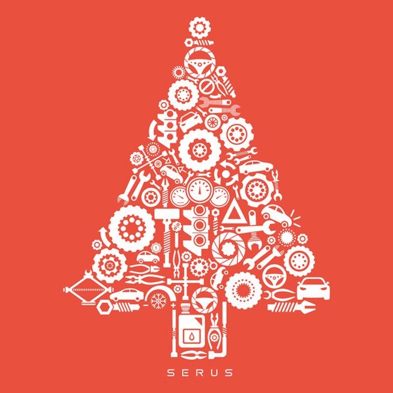 Christmas tree built out of tools greeting card. | Christmas cards ...