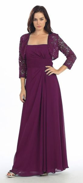 Laced Shrug Side Gathered Long Plum Formal Dress Bright Colors