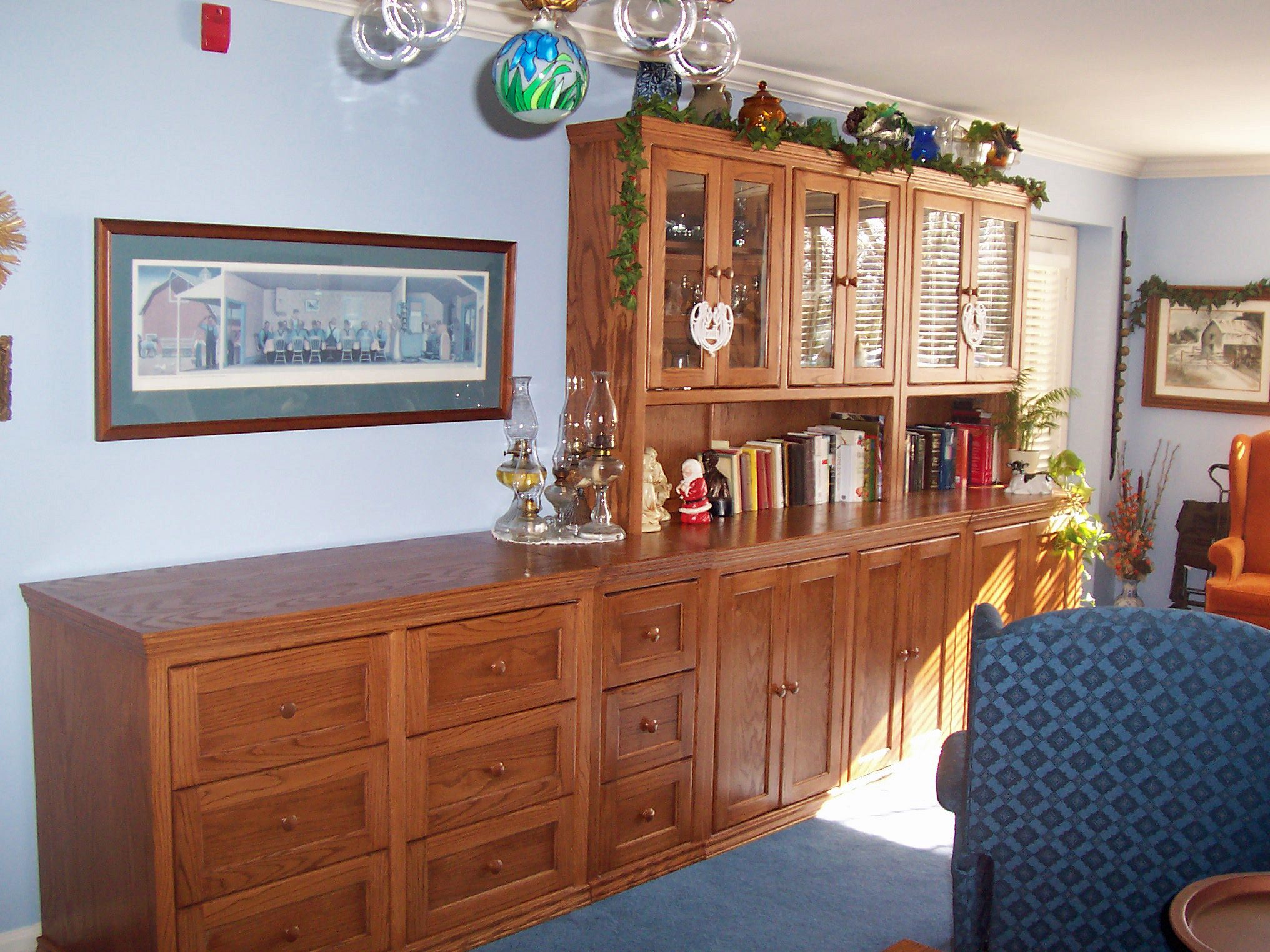 Inwood Furniture oak wall group. Finished in General Finishes Nutmeg ...