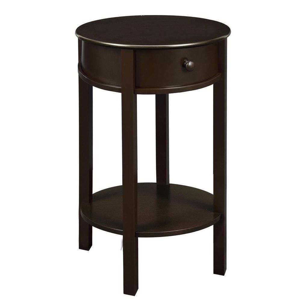 Espresso End Accent Table Drawer Nightstand Shelf Sofa Bed Side