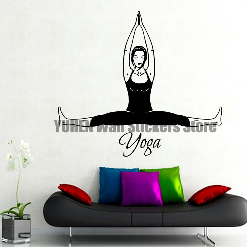 yoga wall decals woman stretching pilates home interior design art