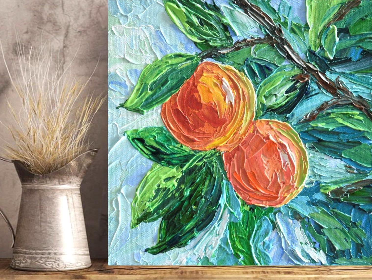 Peaches Painting 8 Impressionist fruit Art Peach Tree