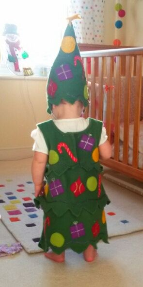 Christmas Tree Costume Childrens Handmade Perfect For Etsy Christmas Tree Costume Tree Costume Felt Christmas Tree