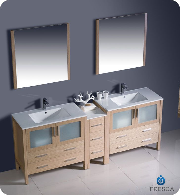... Modern Double Sink Bathroom Vanity W/One Side Cabinet U0026 Two Undermount  Sinks U2013 Light Oak :: Bathroom Vanities :: Bath Kitchen And Beyond