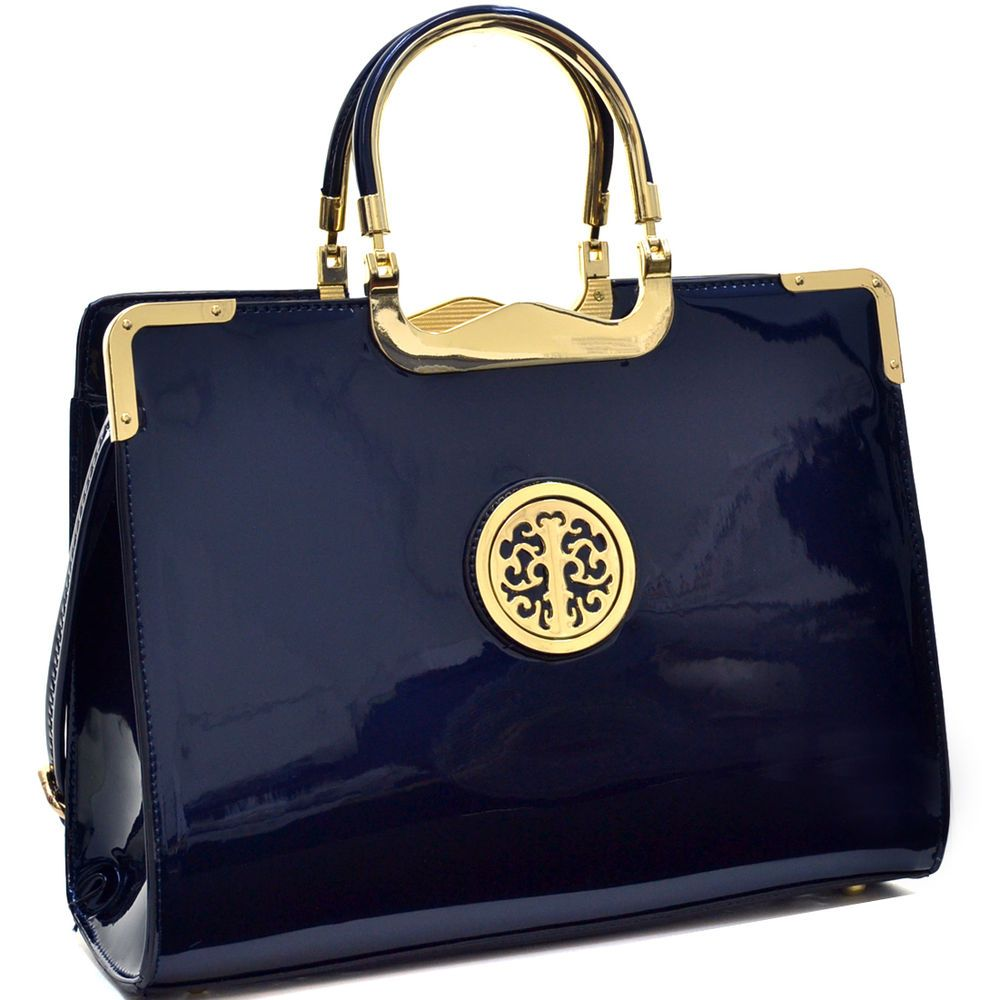 3a2b94264b984 COM - Women (Coffee Only Color Left) Patent Leather Gold Tone Tree Emblem Briefcase  Laptop Bag Business Bag New -  34.99