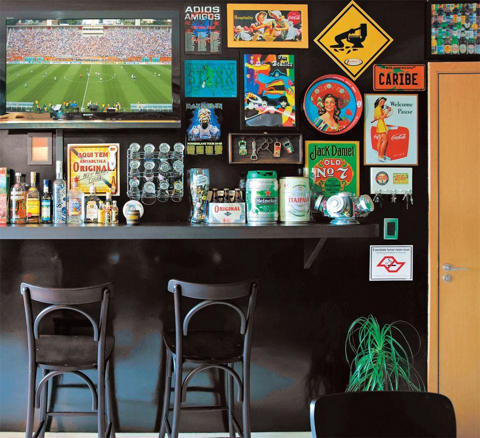 Bar em casa timo para quem gosta de reunir amigos - Como decorar un bar pequeno ...