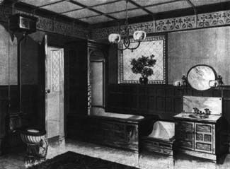A luxury bathroom of the 1890s would feature wood-encased ...