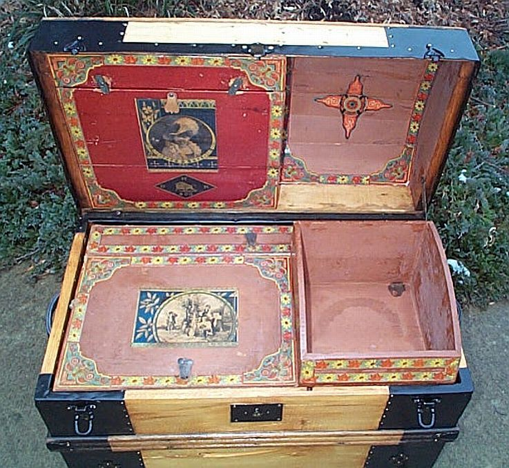 Inside All Wood Medium Size Dometop Or Dome Top Antique Trunk