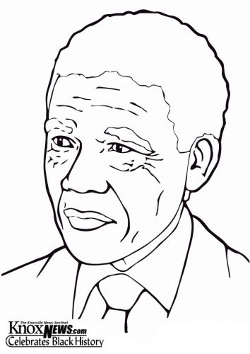 Coloring Page Nelson Mandela Black History Month Art Black