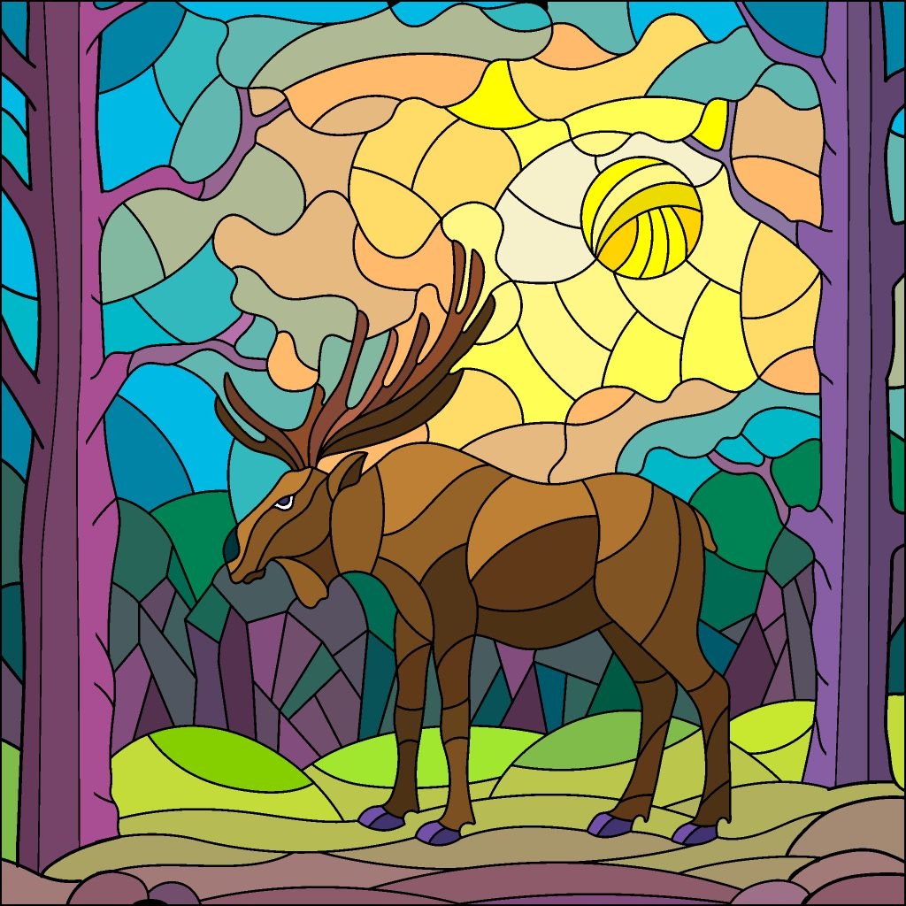 Moose Mosaic Coloring Book App Happy Colors Coloring Books