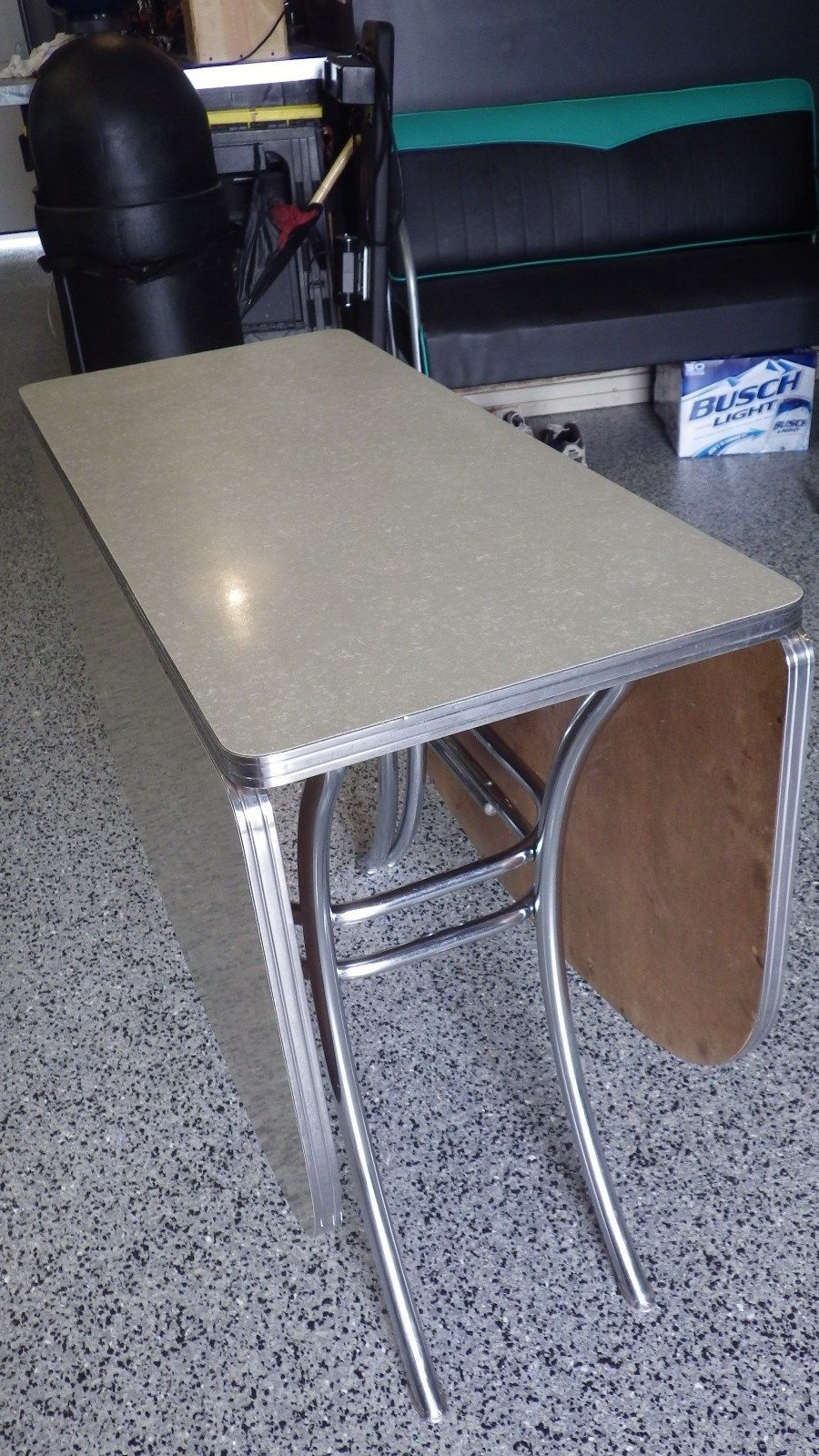 Vintage Lloyd Retro Gray Cracked Ice Formica U0026 Chrome Drop Leaf Kitchen  Table