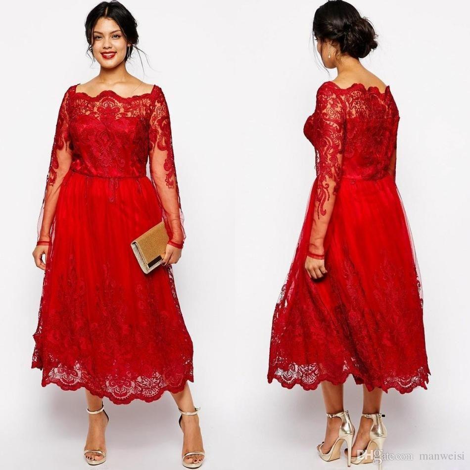 Red Plus Size Dresses Cheap Long Sleeves Lace Applique Tea Length ...
