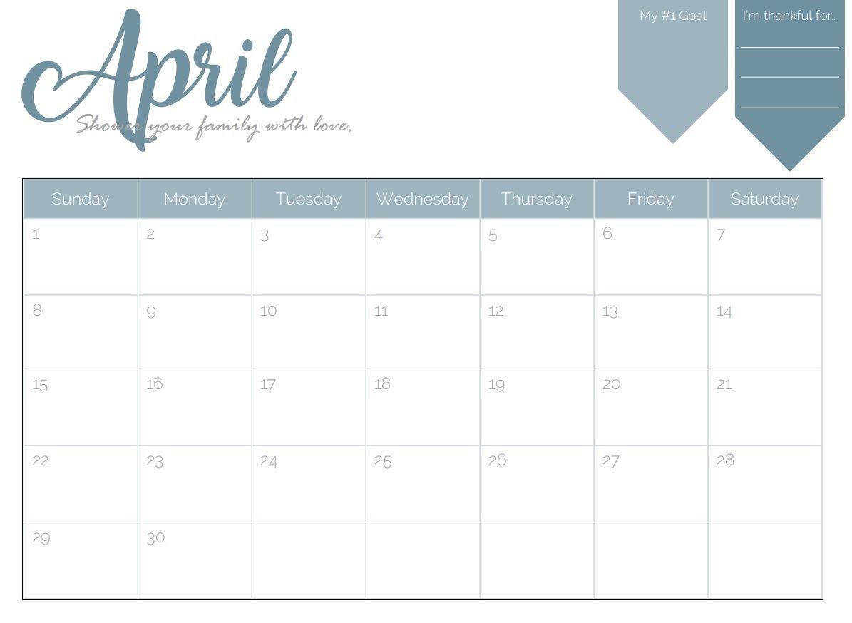 April Goal Planner Calendar