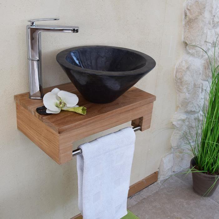 Meuble Sous Vasque Suspendu En Teck Pour Lave Mains Lazzia