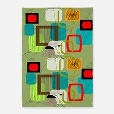 Mid-Century Modern Abstract 5'x7'Area Rug for
