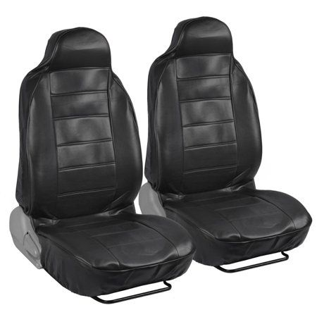 Motor Trend Highback Faux Leather Car Seat Covers For Front Seats Black Universal Fit For Car Truck Van Suv Walmart Com Leather Car Seat Covers Leather Car Seats Bucket Seat Covers