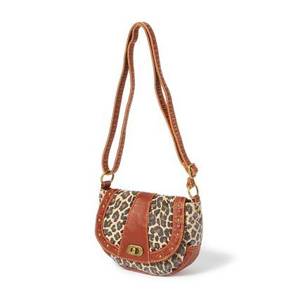 Leopard Print Distressed Faux Leather Crossbody Bag