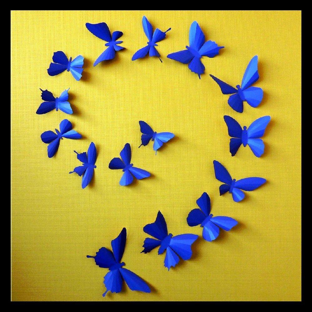 3D Wall Butterflies - 15 Celestial Blue Butterfly Silhouettes, Home ...