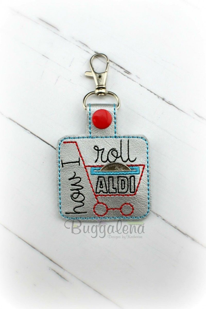 Aldi Cart Snap Tab Key Fob Embroidery Design Quarter keeper