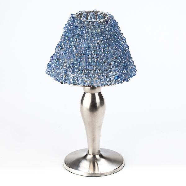 Tealight lamp shades pewter lamp base with a blue beaded shade tealight lamp shades pewter lamp base with a blue beaded shade aloadofball Gallery