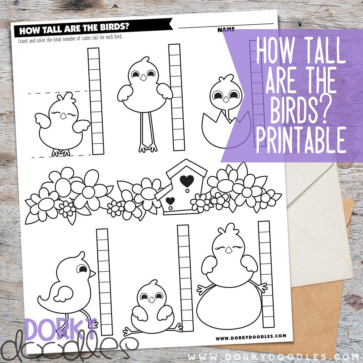 How Tall Are The Birds Measuring Fun Worksheet Printable