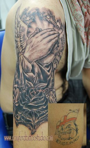 Praying Hands Cover Up Tattoo